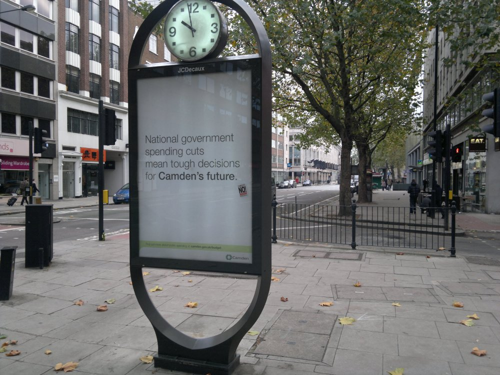 Council poster on Tottenham Court Road, Camden