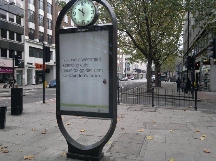 Council poster on Tottenham Court Road, Camden