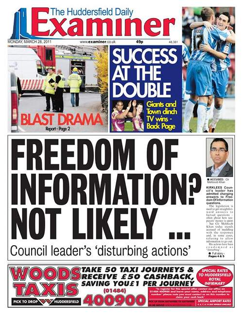 The front page of the Huddersfield Examiner