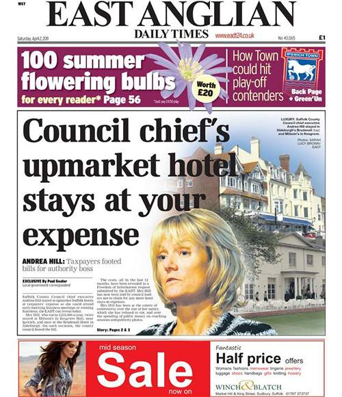 The front page of the East Anglian Daily Times