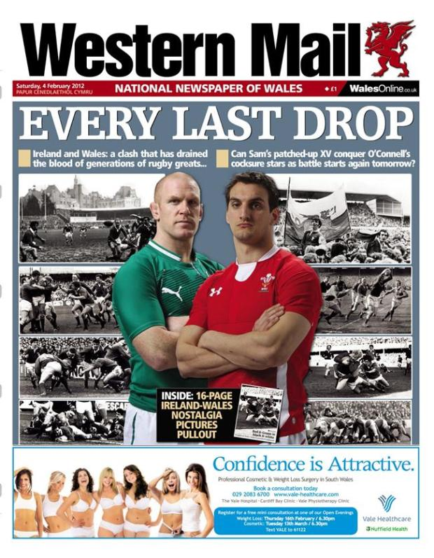 Western Mail front page ahead Wales playing Ireland