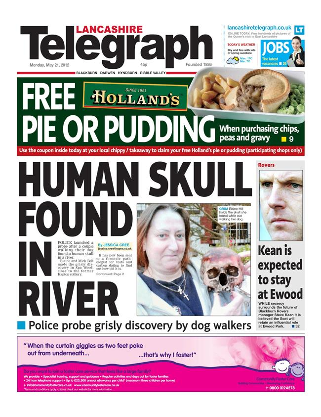 The front page of the Lancashire Telegraph