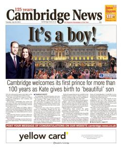 A full front page for the baby's 'home city''