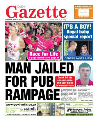 The Gazette in Colchester announces the news
