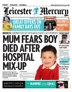 On the front of the Leicester Mercury