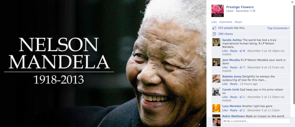 Nelson Mandela as he appeared on the Prestige Flowers Facebook page