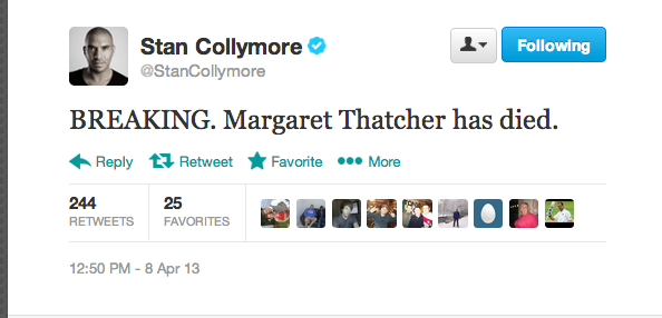 Stan Collymore breaks the news that Margaret Thatcher has died to his followers