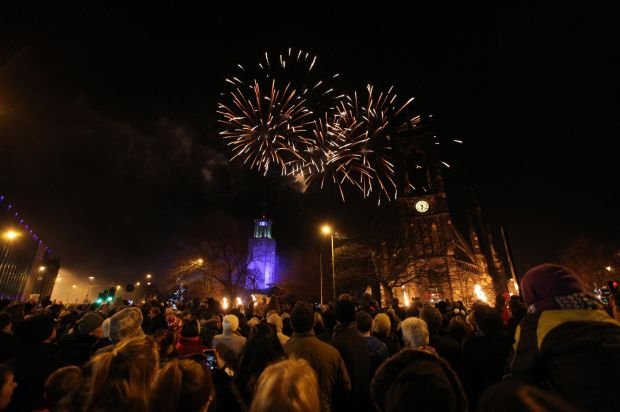 Newcastle's civic centre is lit up by fireworks - and this shot shows much more than the firworks
