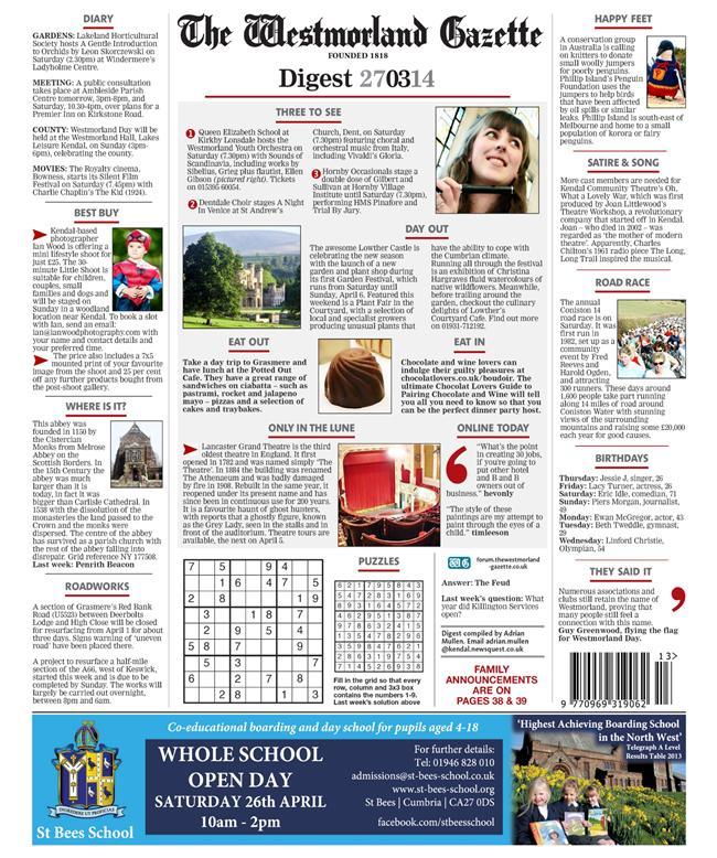 Westmorland Gazette back page