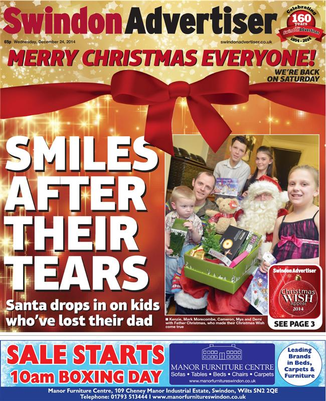The Swindon Advertiser perhaps takes the prize for the most Christmas-y front page this year