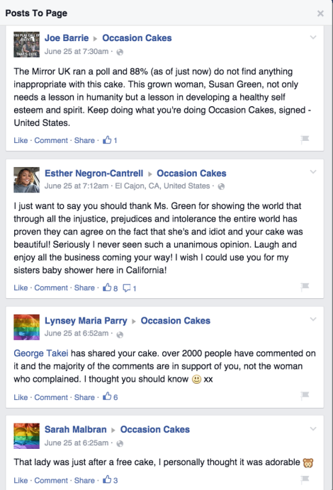 A selection of comments on the Occasion Cakes Facebook site. There are many more like this