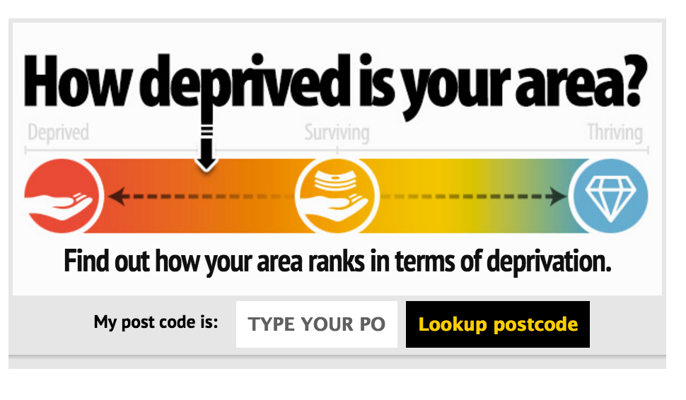 The deprivation widget on the MEN website